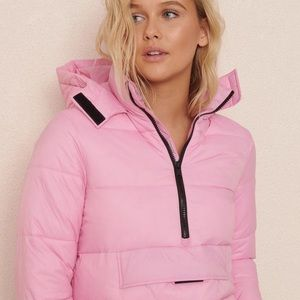 GARAGE Pink Hooded Puff Style Cropped Jacket Coat!